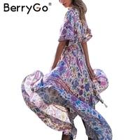 BerryGo Boho Backless Long Summer Dress Women Lace Up Elastic Chic High Waist Dress Elegant Streetwear