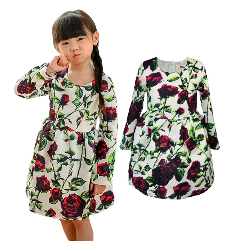2-9Y Baby Girl Dress New 2017 Spring Autumn Long Sleeve Rose Flower Kids Princess Dresses for Girls Clothes Vestidos GDR168