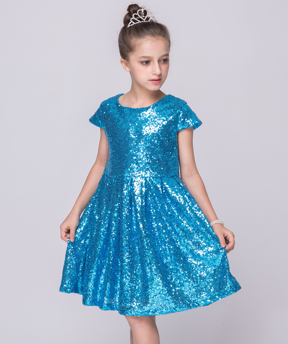 2017 Summer Kids Girls Dress Champagne Gold Sequins Girls Party ...
