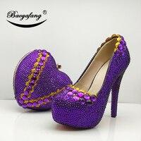 BaoYaFang новый фиолетовый кристалл сердце сумки Модные Женская обувь высокая платформа свадебные туфли Свадебная обувь и сумка женская обувь