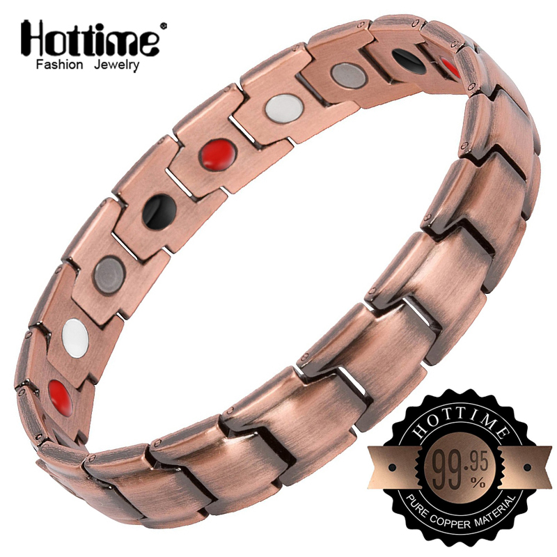 Hottime Red Copper Bracelets with Magnet for Men Women Arthritis Pain Relief High Quality Luxury Magnetic Bracelet
