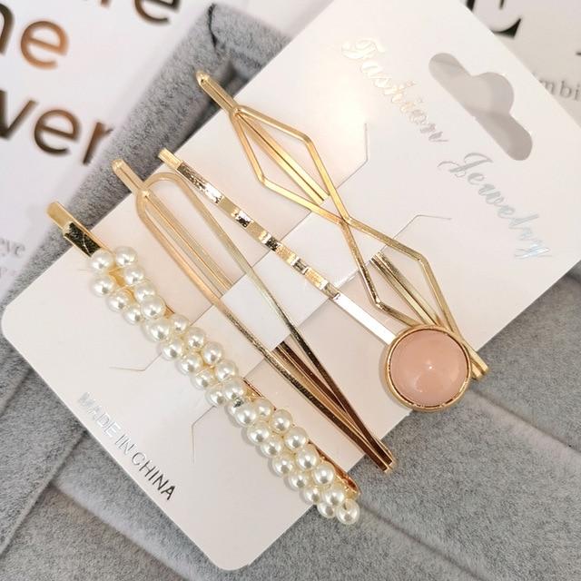 4 unids/set Metal minimalista perla horquilla Barrette horquillas geométricas irregulares horquilla herramientas para el cabello para mujeres niñas