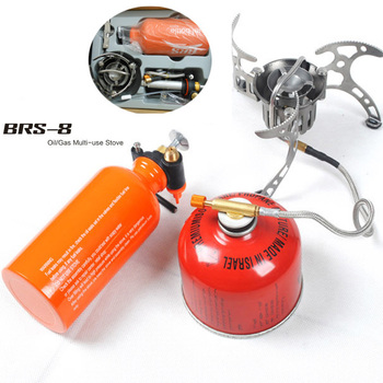 BRS-8 Outdoor Portable Oil&Gas Multi Fuel Windproof Stove Camping Picnic Cooking Stove цена 2017