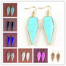 100-Unique 1 Pair Light Yellow Gold Color Many Style Arrow Shape Quartz Stone Earrings Elegant Womens Earring