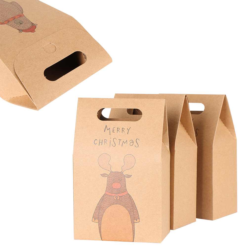Vintage Kraft Paper Christmas Candy Box Carry Case Apple Tote Bag Gift 5pcs//pack