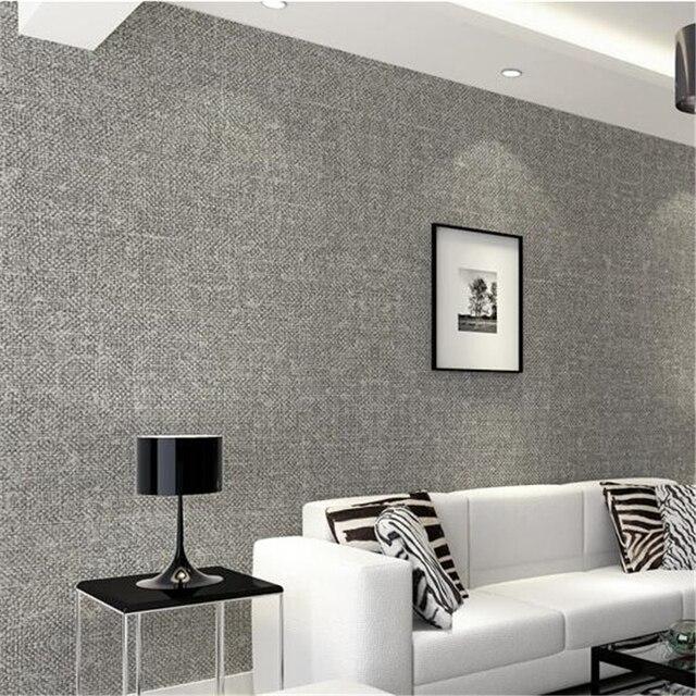 Beibehang muur papier Pure kleur woninginrichting linnen imitatie ...
