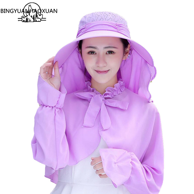 BINGYUANHAOXUAN  Hot Sale Summer New Cover Face Sunhat Solar Hat Female Outdoor Bike Beach Neck protection Set