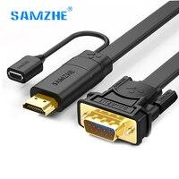 SAMZHE HDMI VGA Kablo Erkek Male Video Iletim Kablosu VGA adaptörü Dönüştürücü 10809 Kablo TV kutusu Projektör PS3 laptop için