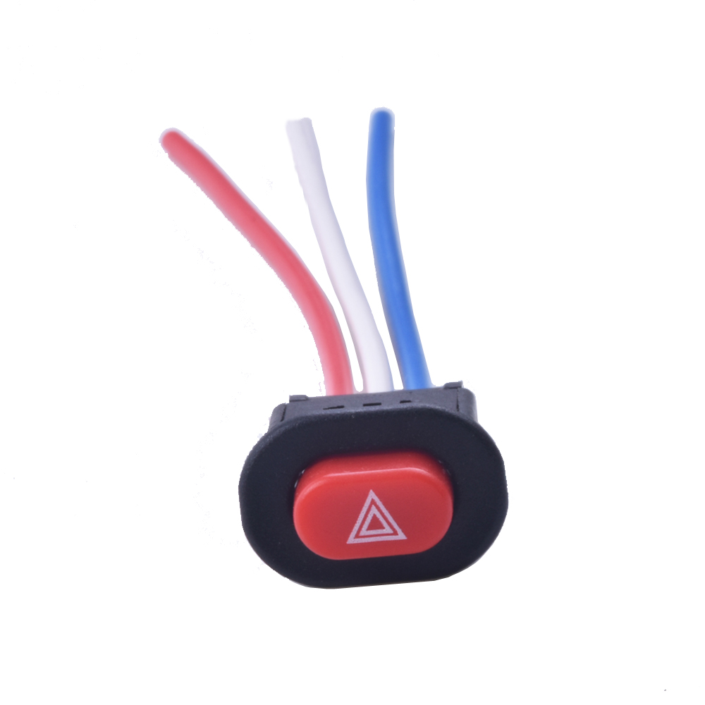 AUT0 LEAGUE Motorcycle Switch Hazard Light Switch Button Double Flash Warning Emergency Lamp Signal Flasher with 3 Wires Built-in Lock