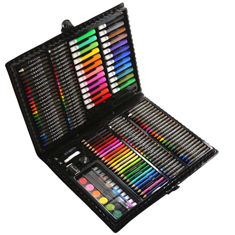168pcs Children Drawing Set Pupils Watercolor Palette Box Brush Pen Painting Tools Art Kids Gift Box Painting Supplies цена