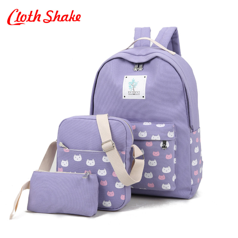 Cloth Shake Fashion Women Canvas 3Pcs Backpack Schoolbag For Girl Teenagers Capacity Student Travel Cute Cat