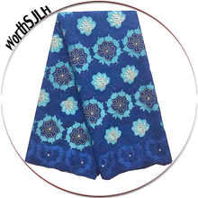 Eyelet Swiss Voile Lace In Switzerland High Quality 2018 African Nigerian Fabric Royal Blue Men