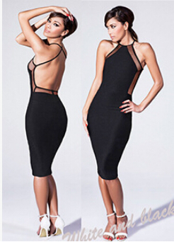 3ed45d7222 S-L 2015 Party Dress 2015 Black and White Mesh Panel Back Criss Cross Midi Pencil  Slimming Fitted Bodycon Bandage Dress