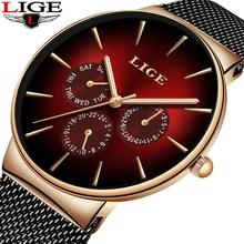 2019 LIGE Casual Thin Mesh Belt Fashion Quartz Gold Watch Mens Watches Top Brand