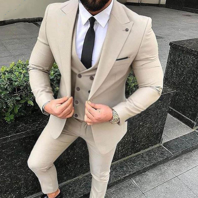 Custom Made Beige Men Suits for Wedding Slim Fit Groom Tuxedo Blazer Jacket 3Piece Latest Coat Pant Designs Costume Homme Ternos