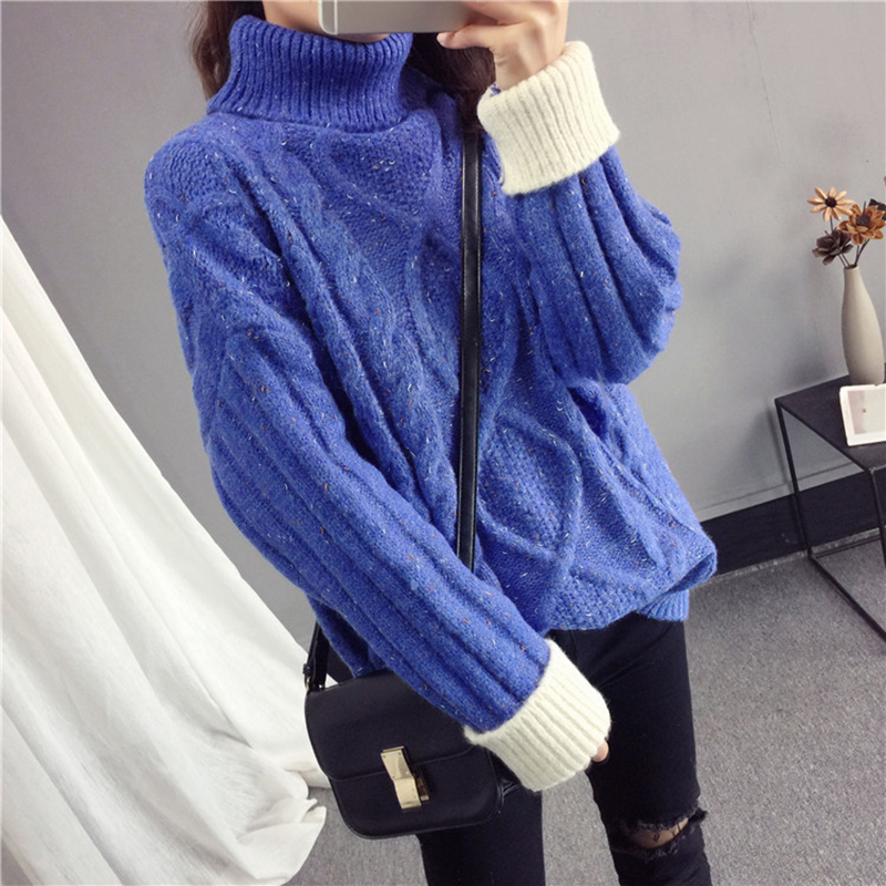 Women Turtleneck Sweater 2018 Autumn Winter New Pullover Tops Female Loose Fashion High Collar Warm Knit Sweater Pullover NO620
