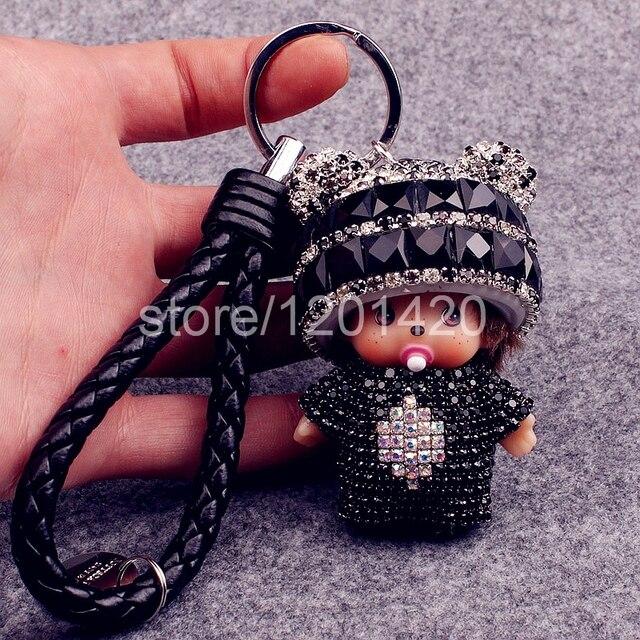 Monchhichi Monchichi кукла брелок черный горный хрусталь блестящий кожаный брелок натуральная кожа веревки, шнурки ключи