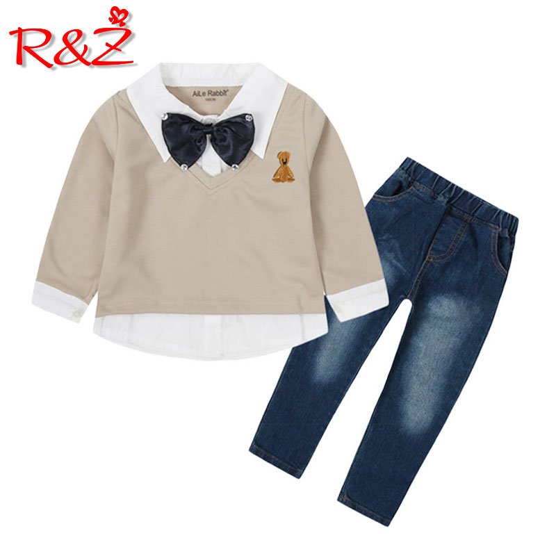 R&Z 2018 Boys Fall Set Fashion Long Sleeve Top Jeans 2 Piece Set Children's Wear Kids Set Cartoon bear fake two-piece shirt cute cartoon bear style biscuit cookie cutter mold set white 4 piece pack