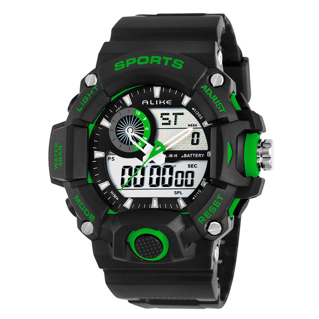 Top Brand Alike 50M Waterproof Swimming Men Sport Quartz Watches Analog Digital Multi-Function Electronic Military Wristwatch