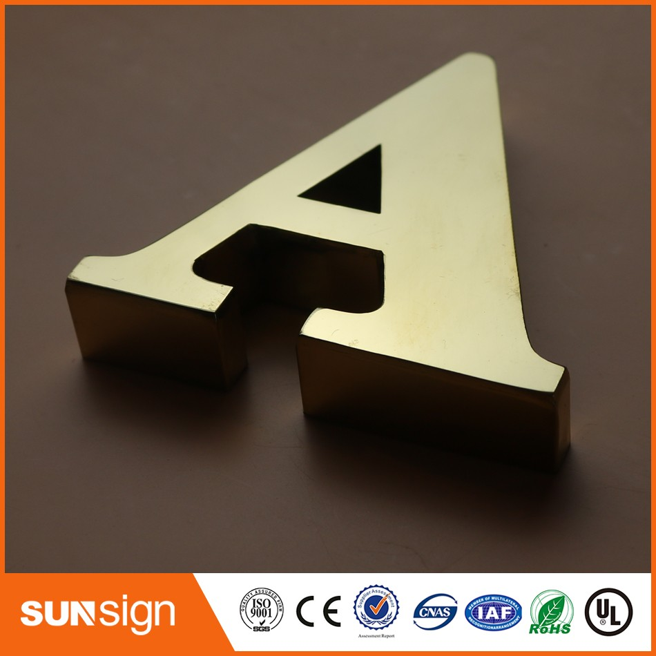 Customize Gold color stainless steel letters logo sign waterproof