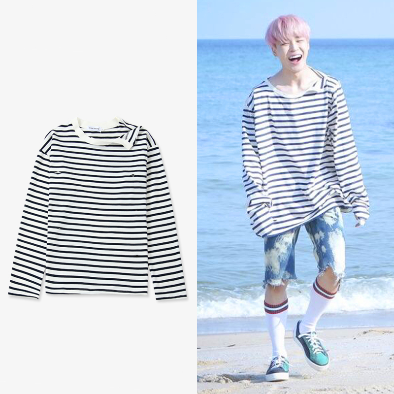 New Kpop  Bangtan Boys JIMIN Same Irregular Neckline Stripe Sweatershirt Pullover Hoodie Long Sleeve Shirt