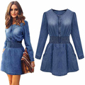 2017 primavera otoño invierno denim largo-manga de la cintura delgada de las mujeres casual jeans dress plus size women denim dress