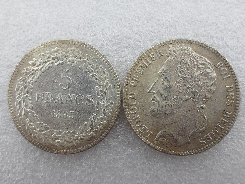 Belgium 1835 leopold Premier Roi Des Belges 5 Francs Copy Coins