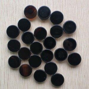 Image 2 - Toptan 20 adet/grup Moda kaliteli Doğal siyah oniks yuvarlak cabochon 20mm boncuk takı aksesuarları için yapımı ücretsiz