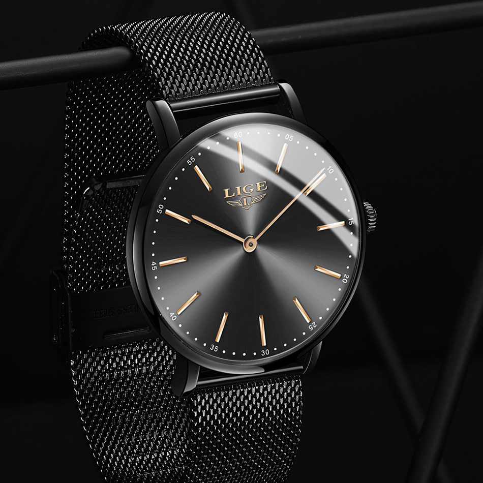 LIGE Fashion Luxury Black Women Watches 2018 High Quality Ultra Thin Quartz Watch Woman Elegant Dress Ladies Watch Montre Femme