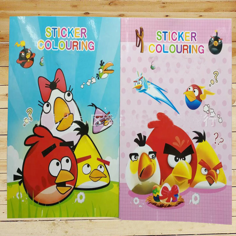 20x27CM 16 Page Cute Bird Coloring Book Sticker Book Children Adults Painting/Drawing/comic/cartoon Colouring Books For Kids(China)