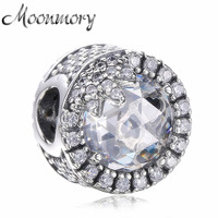 Moonmory White Radiant Hearts Beads Real 925 Sterling Silver Charm With Zircon Bead Fit Brand Snake