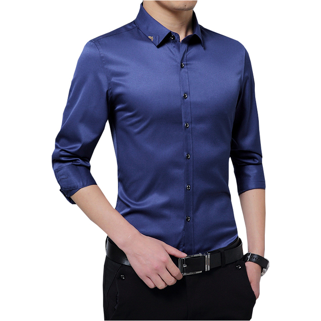 Male Dress Shirt Fashion Smooth Cloth Solid Color Formal Men Shirt Brand  Autumn Embroidery Long Sleeve