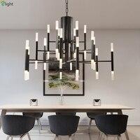 Postmodern Painted Metal Led Chandeliers Lighting Living Room Acrylic Shade Led Pendant Chandeliers Lights Hanging Lamp Fixtures