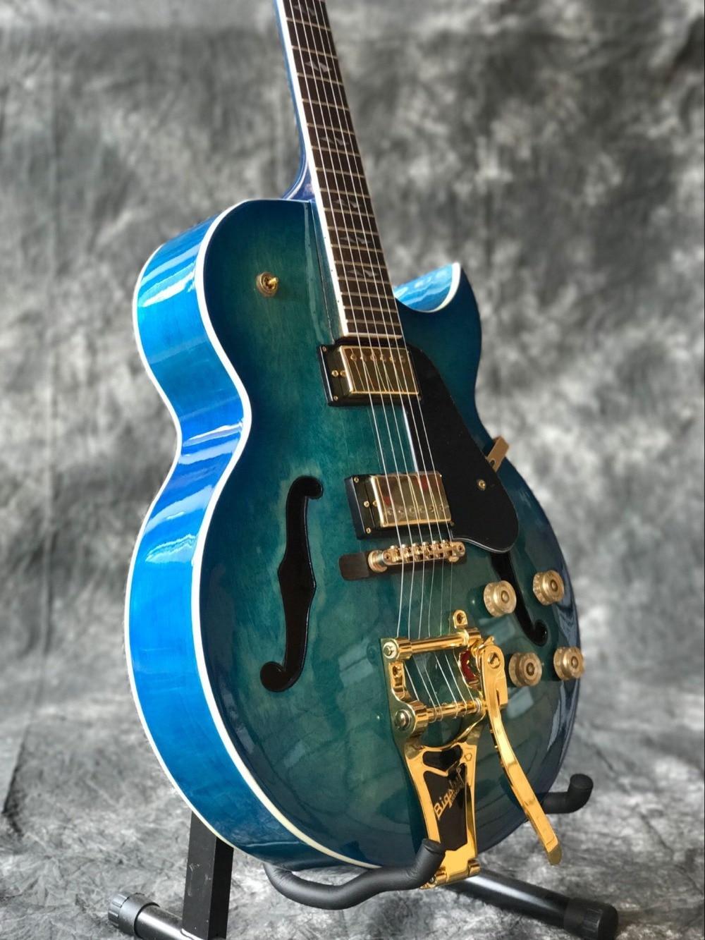 New standard custom 60 F hollow body jazz Electric Guitar.blue gitaar,musical instrument guitarra,black pickguard.vibrato system