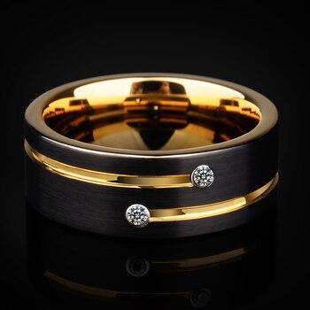 2018 Новое поступление высокое качество мужские обручальные кольца 6/мм 8 мм черные вольфрамовые кольца с золотым пазом CZ камень размер 5-12,5 Бе...