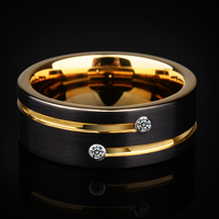 2018 New Arrival High Quality Mens Wedding Bands 6/8mm Black Tungsten Rings with Gold Groove CZ Stone Size 5 12.5 Free Shipping