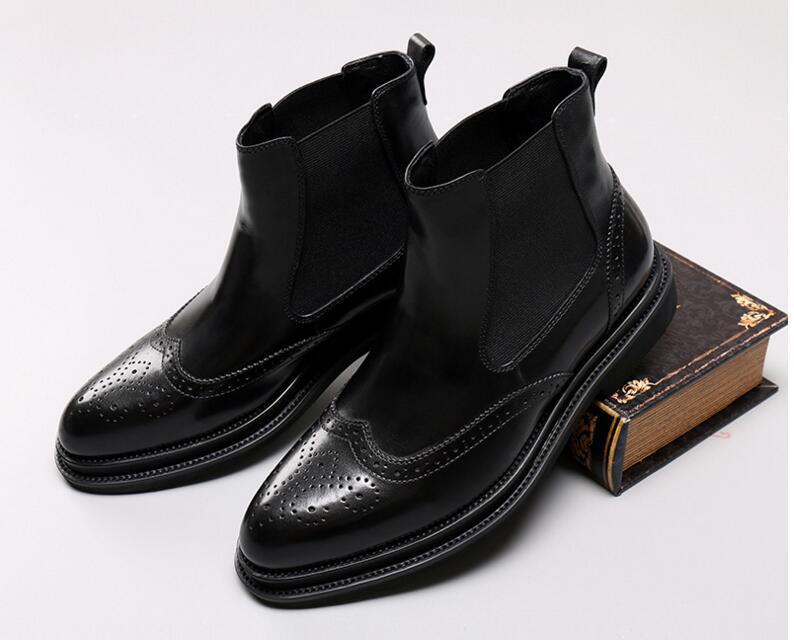 Модные мужские ботинки из натуральной кожи на толстой подошве ботильоны без застежки с круглым носком высококачественные мужские рабочие ... - 2