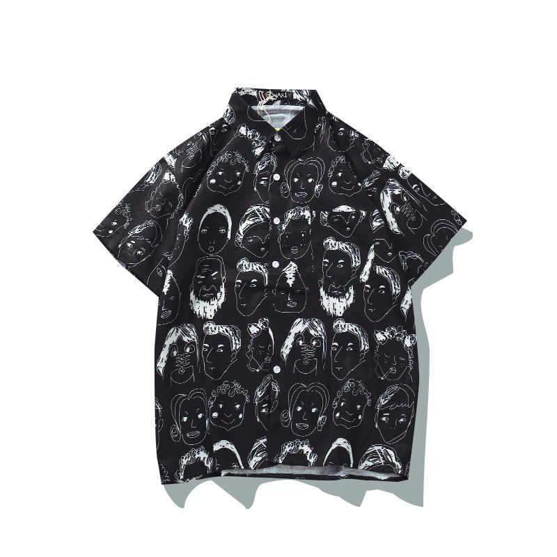 Новые летние Мужская гавайская рубашка для женщин пляжные рубашка с короткими рукавами модные повседневное печатных рубашки для мальчиков хип хоп японский уличн