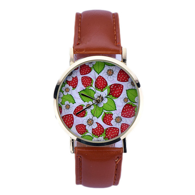 Newest Women Strawberry Pattern Leather Analog Quartz Wrist Watch Newly Design Simple Lady Dress Leather Reloj Relogio Hot Sale