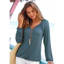 High quality cotton t-shirt woman Elastic cuffs casual pure color top tees female long sleeve cape collar pullover lady tshirt