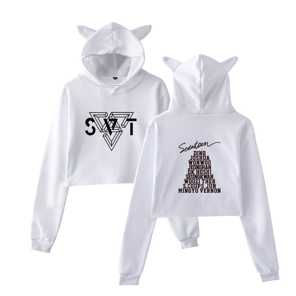 LUCKYFRIDAYF Fashion SEVENTEEN Summer Hot Sale Crop Funny Women Funny Cat Hoodies Sweatshirt Sexy Hoodie Funny Print 2XL in Hoodies amp Sweatshirts from Women 39 s Clothing
