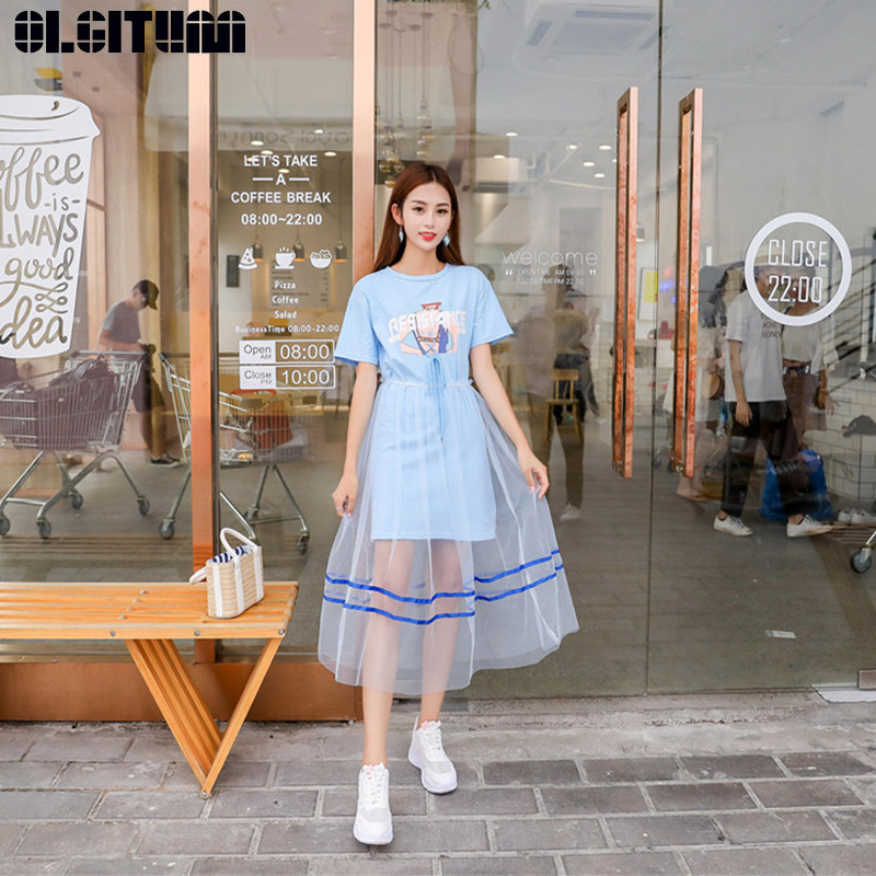 OLGITUM Female Summer 2020 New Korean Version Printed T-shirt Isuper Fire Mesh Dress Fashion two-piece Women's Suit Dress WS169