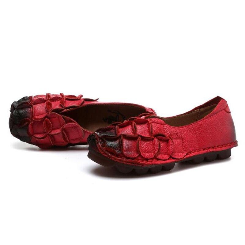 Genäht K195 2 Freizeitschuhe Flexible 1 Hand Frühling Schuhe Frau Leder Wohnungen Frauen Mokassins Echtem 4 Faulenzer Flache 3 2018 xBqTYH6q