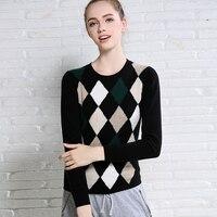 100% коза, Кашемир Женская мода красочный argyle basics пуловер свитер с круглым вырезом S/M/L/XL