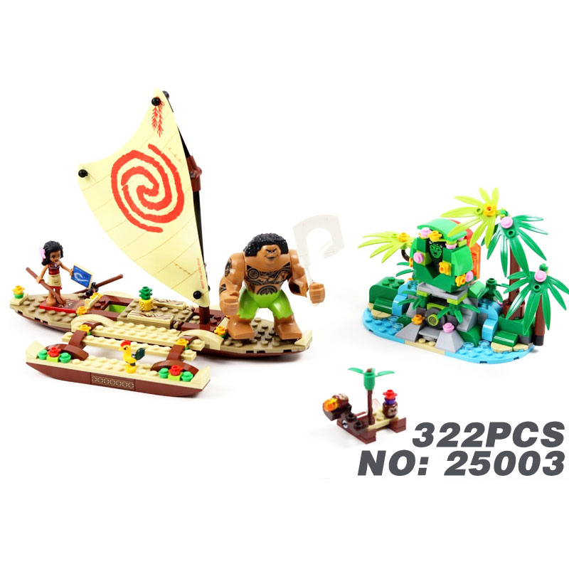 2017 New Fairy Tales cartoon movie Moana Ocean voyage building block Maui figures bricks 41150 toys for girls gifts fairy tales