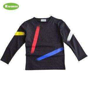 Image 4 - Chłopcy topy odzież dziecięca wiosna jesień bawełniana koszulka z długim rękawem dla chłopców, z czarnym i czerwonym chłopcem wygodna odzież