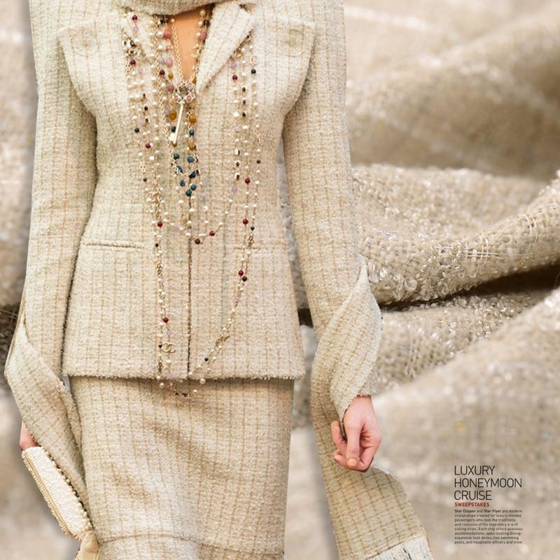 Vente chaude limitée mode importé fenêtre française reine tissé tweed laine viscose tissu pour manteau tissu au mètre lumineux tissu bricolage