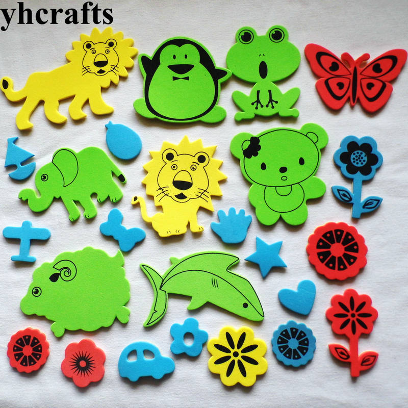 50PCS LOT Animal flower vechile foam stickers Kindergarten arts and crafts Classic toys Creative activitity item