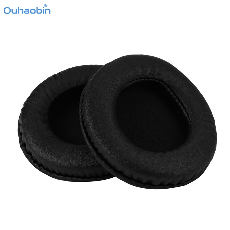 Ouhaobin 1 Pair Protein Leather Replacement Double Ear Pads 95MM Headphones Round Black Durable High Quality Earpad Sep6