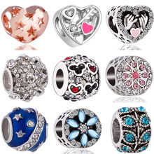 High Quality Crystal Arrow Planet Windmill Graffiti Tree Hand Star Mickey Bead Fit Original Pandora Charms for Women DIY Jewelry(China)